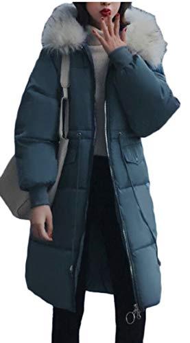 TTYLLMAO Women Thicken Fur Trim Hooded Long Down Parka Jacket Overcoat 5