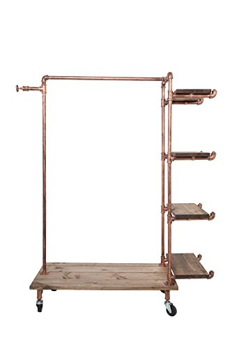 Newtech Display IND-R4/BR Single Rack with 4 Wood Shelves, Brass by Newtech Display