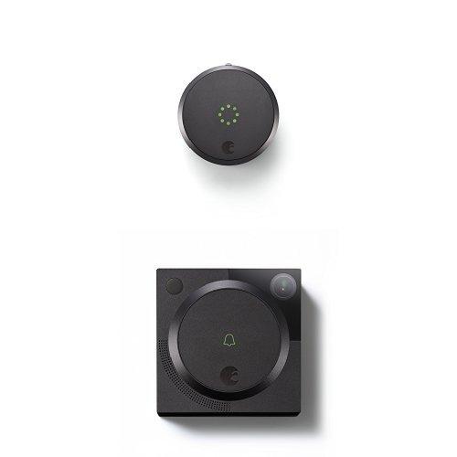 August Smart Lock HomeKit Enabled (Dark Gray) with August Doorbell Cam, Dark Gray