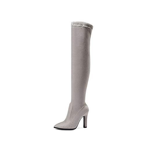 HAOLIEQUAN Les Femmes De Plus Bottes À Enfiler Chaussures Chaussures Hiver Chaussures Chaussures Haut Talon Mince Toutes Les Femmes Match Taille Bottes 34-43 36|Gris clair 6c3bbd