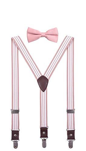 ORSKY Teens Bow Tie and Suspenders Set Adjustable Elastic 40