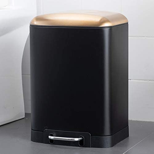 キッチンゴミ箱 リビングルーム、キッチンやベッドルームシルバー/黒蓋フットステップサイレントごみ箱ステンレス鋼のゴミ箱とゴミ缶12リットル/ 3ガロン ごみ収集 (Color : Black)