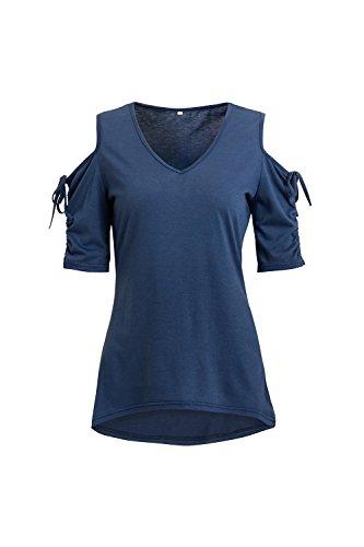 Mujeres Tops De La Camiseta De Verano Pico Hombro Frio Navy