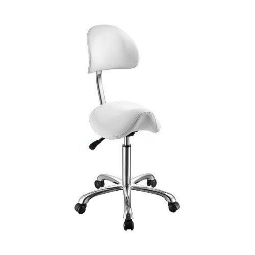 White Esthetician Saddle Stool With Curved Backrest and Metal Base USA Salon and Spa Saddle ++ USA-1024AB3