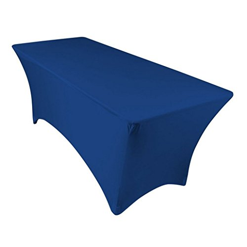 GFCC Royal Blue 8 ft Spandex Tight Fit Table Cover DJ/Trades