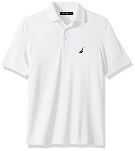(Nautica Men's Short Sleeve Solid Stretch Cotton Pique Polo Shirt, Bright White, Medium)