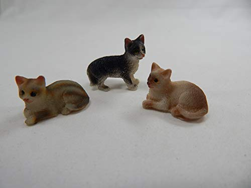 "Dollhouse Miniature 0.75""x0.25"" Cat Kitten 3 pcs Set #Z501 from Mini Bear Gems"