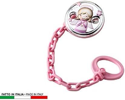 Bata plateada con pinza para chupete, color rosa, idea regalo en caja: Amazon.es: Bebé
