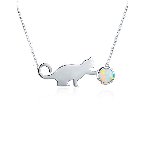Cat Necklace Sterling Silver Synthetic Opal Pendant Necklace Valentine's Day Birthday Christmas Gifts Cat Lovers Anniversary Gifts for Her