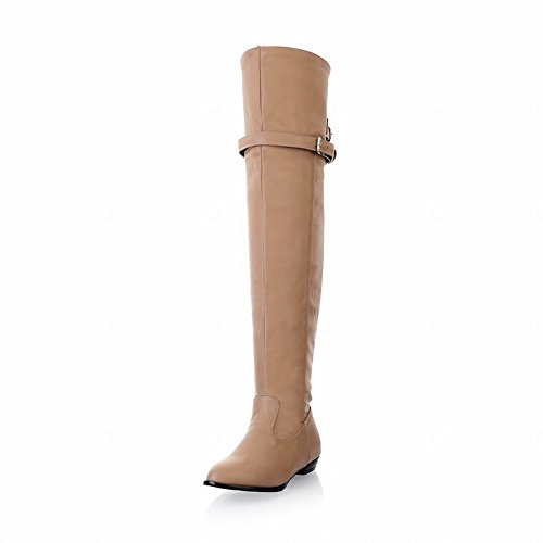 Knee Boots Show Leather high Off Women's White Shine Low Sexy heel CtxOqt7B