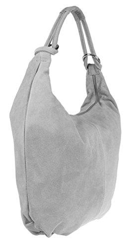 Grey Shoulder Italian Suede Bag Girly Leather HandBags Hobo Light pqw8gS