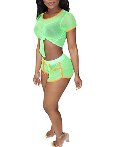 Rela Bota Women's Two Piece Outfits Beach Summer Sheer Mesh Crop Top and Short Set Clubwear Green S