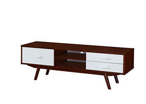 Techni Mobili Retro Wood Veneer 65″ TV stand with Storage. Walnut
