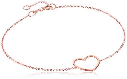 Link Rose 14k Bracelet Gold - 14k Italian Rose Gold Heart Adjustable Link Bracelet, 7