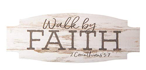 CELYCASY Walk By Faith Whitewash 4.5 x 2 Wood Inspirational Magnet by CELYCASY