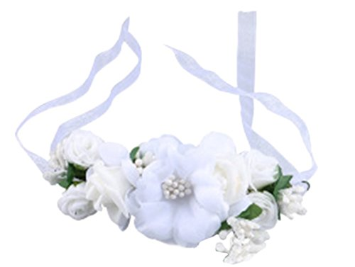 Love Sweety Rose Flower Crown Wreath Wedding Headband Wrist Band Set (White) by Love Sweety (Image #2)