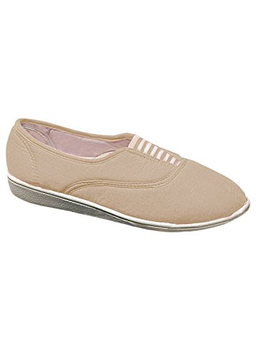 Zorgeloze Canvas Slip-ons, Tan, Maat 7 (breed)