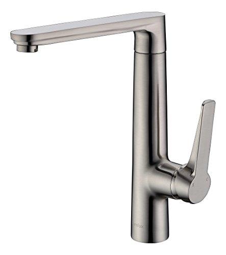 (Purelux Sagittarius Modern Design Single Handle Kitchen Sink Faucet, Brushed Nickel Bar Prep Faucet, 10 YEAR WARRANTY)