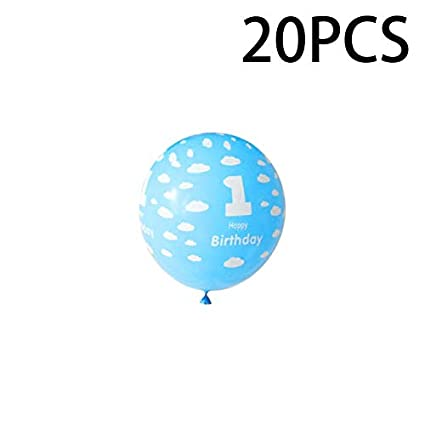 20Pcs//Pack 1 Year Old Baby Birthday Balloons with Number Printing Decor for Boys Girls Birthday Party Decoration