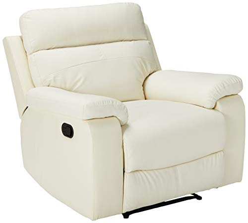 Halter Bonded Leather Recliner Sofa Chair - Modern Reclining Lounge Chair -  White