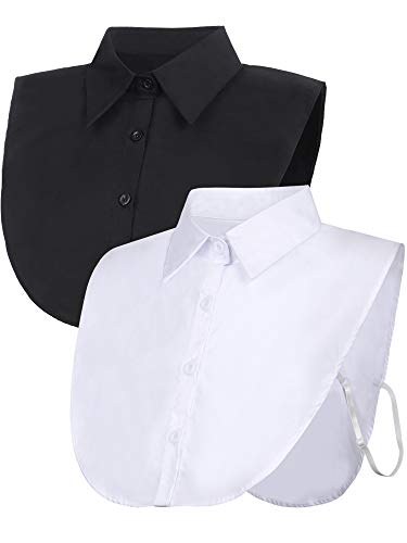 Tatuo 2 Pieces Fake Collar Detachable Blouse Dickey Collar Half Shirts False Collar for Women Favors (Black and White)