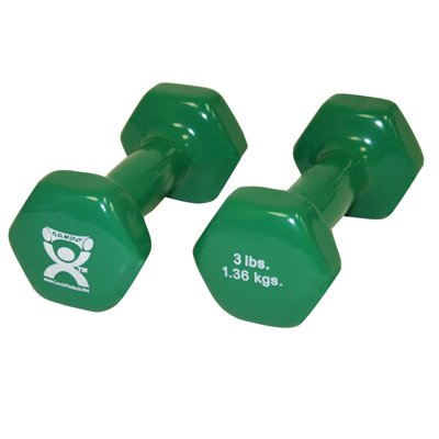 Balego® Deluxe Vinyl Solid Iron Dumbbells (Green, 3-Pound) (Set of 2)
