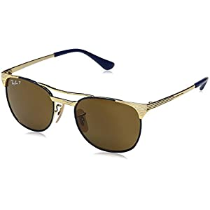 Ray-Ban Kids' Metal Unisex Polarized Square Sunglasses, Gold Top Blue, 47 mm