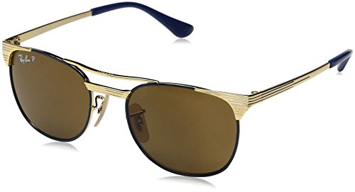 Ray-Ban Kids' Metal Unisex Sunglass Polarized Square, Gold TOP Blue, 49 ()