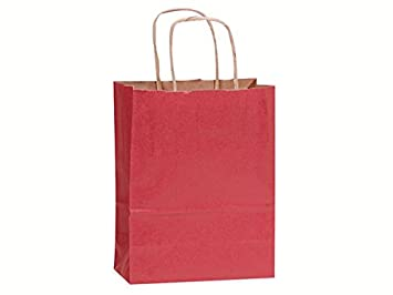 Amazon.com: 8 bolsas de papel de color rojo para la compra ...