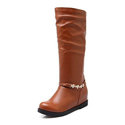 AllhqFashion Womens Kitten-Heels Soft Material High-top Solid Pull-on Boots Brown TigFMbBmBt