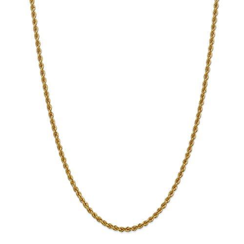 Roy Rose Jewelry 14K Yellow Gold 3mm Handmade Regular Rope Chain Necklace ~ Length 16'' inches - 16' Regular Rope Chain
