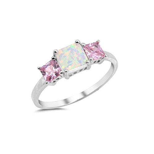 CloseoutWarehouse Three Princess Cut Pink Cubic Zirconia White Simulated Opal Ring 925 Sterling Silver Size - Ring For Princess Cut Men