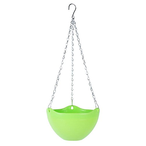 Generic Hanging Flower Plant Pot Chain Basket Planter Holder Outside Outdoor Green by Generic