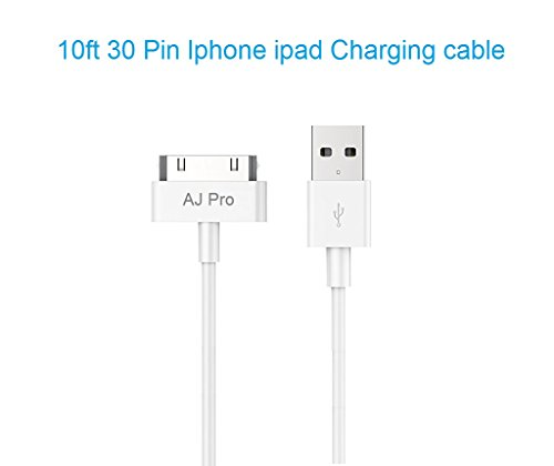 AJ Pro 10' FT Long White Extension 30 Pin USB Sync Cable Power Cord Charger Supports iPhone 4S 4 3GS iPad 1 2 3, iPod Apple Ipod Video 30gb Accessory