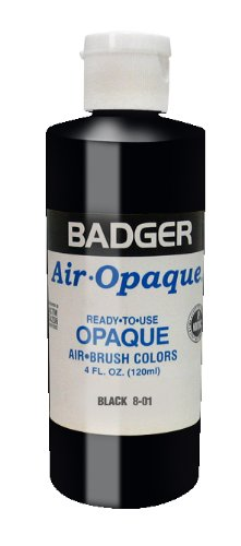 - Badger Air-Brush Company Air-Opaque Airbrush Ready Water Based Acrylic Paint, Black, 4-Ounce