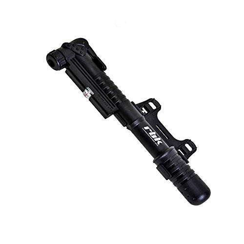 The Pump Rbk - RBK Compact Mini Bike Pump - Reinforced and Ergonomic Plastic, Lightweight with Gauge and Mounting Bracket for Presta and Schrader Valve. Up to 100 psi