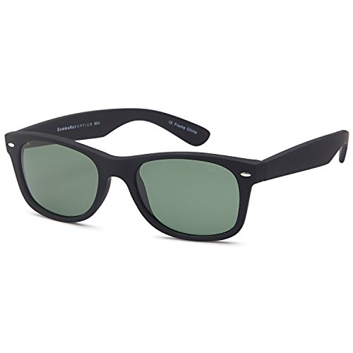 GAMMA RAY CHEATERS Best Value Polarized UV400 Wayfarer Style Sunglasses with Mirror Lens and Multi Pack Options Adult - Olive Lens on Matte Black Frame