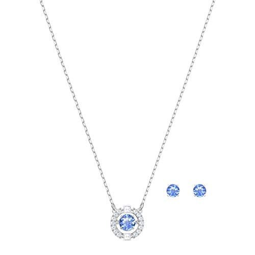 Swarovski Sparkling Dance Round Jewellery Set – Women's Swarovski Necklace and Earring Pair with White and blue Crystals…