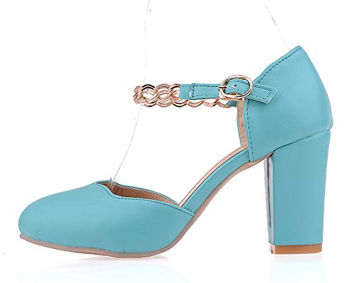 Donna Pu infradito sandali Gmxlb010281 con Solid Blu Agoolar g4nUdg