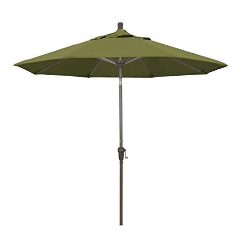 California Umbrella 9' Round Aluminum Market Umbrella, Crank Lift, Auto Tilt, Champagne Pole, Pacifica Palm Palm Umbrella Base