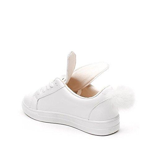Ideal Shoes Basket Lapin en Similicuir Janine Blanc ateckfmZ8