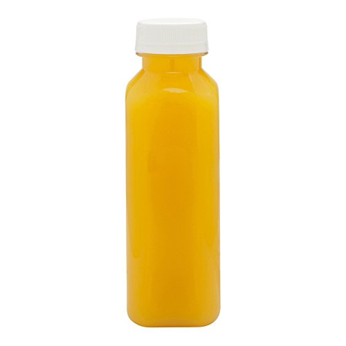12-OZ Square Plastic Juice Bottles - Cold Pressed Clear Food Grade PET Bottles with Tamper Evident Safety Cap: Perfect for Juice Shops, Cafés and Catering Events - Disposable and Eco-Friendly - 100-CT ()
