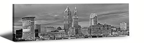 JiazuGo-B&W Panoramic Cities Cleveland Skyline Modern Art Work Cityscape Pictures Paintings on Canvas Wall Art Wall Pictures for Bedroom Art Home Decorations Office Decor Ready to Hang 14x48 from jiazugo