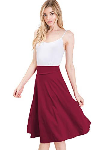 - CLOVERY Women's Versatile Stretchy Pleated Flare Short Skater Skirt, Burgundy S