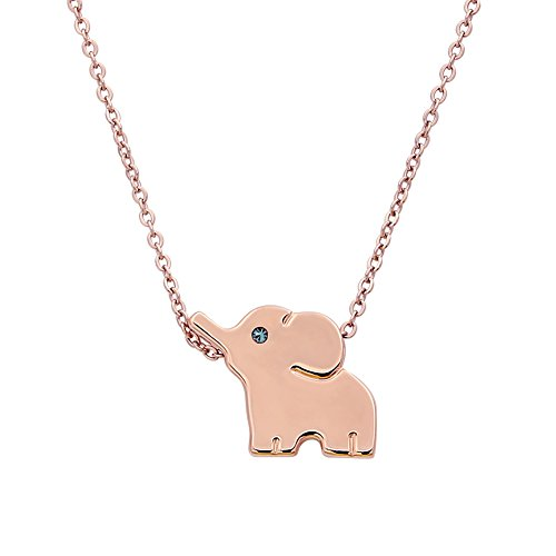 ELBLUVF 18k Plated Stainless Steel Elephant Animal Lucky Elephant Necklace Everyday Jewelry (Rose gold) ()