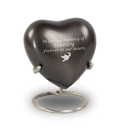 OneWorld Memorials Classic Heart Bronze Keepsake Urns - Extra Small - Holds Up to 3 Cubic Inches of Ashes - Grey Cremation Urn for Ashes - Engraving Sold Separately