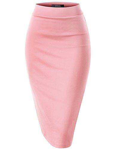 NINEXIS Womens Elastic Waist Band Slim Fit Bodycon Pencil Midi Skirt Peach S