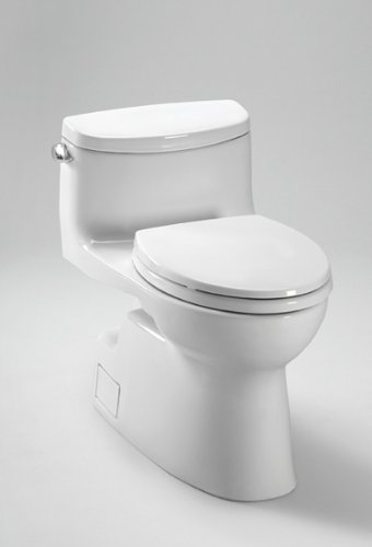 Toto MS644114CEFG#01 Carolina-2 One-Piece High-Efficiency Toilet with SanaGloss, 1.28GPF, (Carolina One Piece Elongated Toilet)