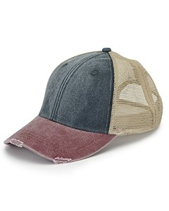 - Adams 6-Panel Pigment-Dyed Distressed Trucker Cap OS Navy/ Burgundy