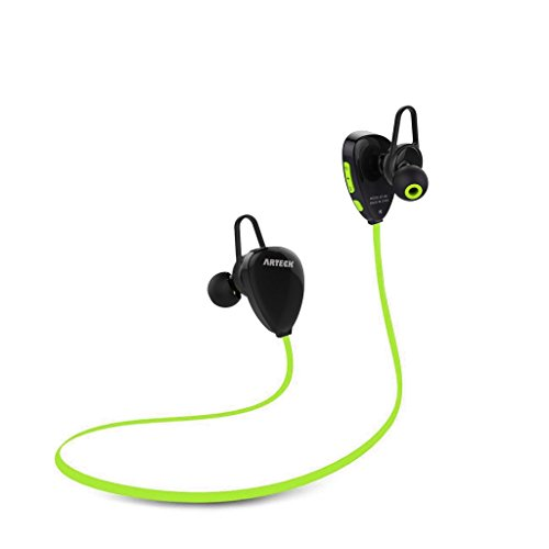 Arteck Wireless Bluetooth Headphones for Running Sports Sweat-proof Portable Earphones with Rechargeable 15 Hours Playing Battery for iPhone 7 Plus 7 SE 6 Plus 6 5 4, iPod, Android Smart Phones-Green